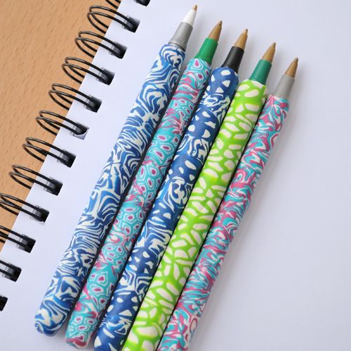 DIY Polymer clay covered pens.