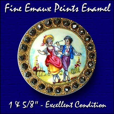 Very large 19th c figural enamel children playing blind man s buff