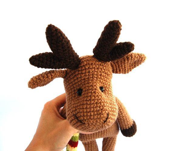Christmas Reindeer Amigurumi : reindeer, crocheted amigurumi brown christmas reindeer ...