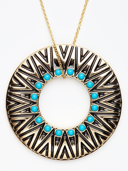 House of Harlow 1960 Gold & Turquoise Cabochon Tribal Circle Necklace