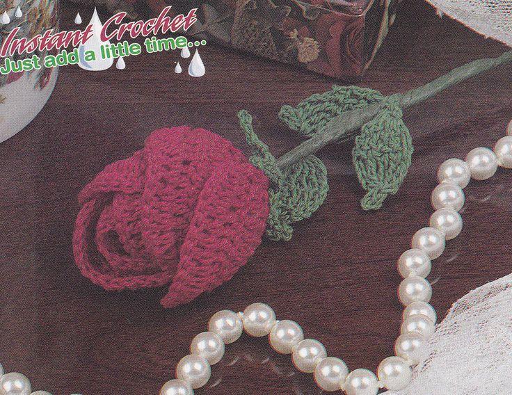 Free Crochet Long Stem Rose Pattern : Crochet Pattern ~ LONG STEMMED ROSE ~ Instructions