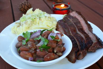 Bourbon and Brown Sugar Marinated Flank Steak with Garlic Mashed ...