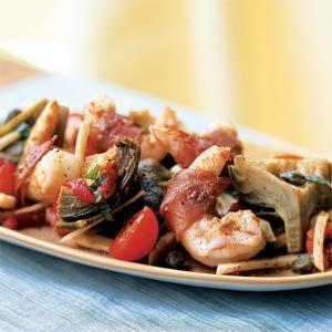 Prosciutto-Wrapped Shrimp on Artichoke, Fennel, and Tomato Salad | Re ...
