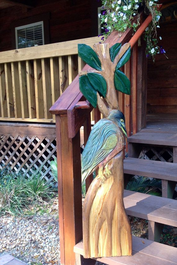 Green Heron 4 foot chainsaw wood carving lowcountry shore bird indoor ...