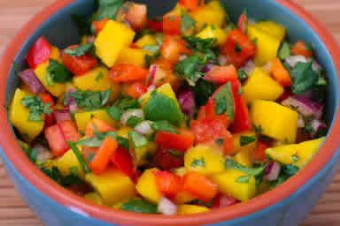 """... Mango Salsa with Red Bell Pepper Goes with the """"Grilled Lime and Chile"""