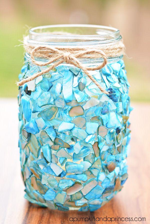 Beach inspired mason jar craft diy d i y tutorials for Diy jar crafts