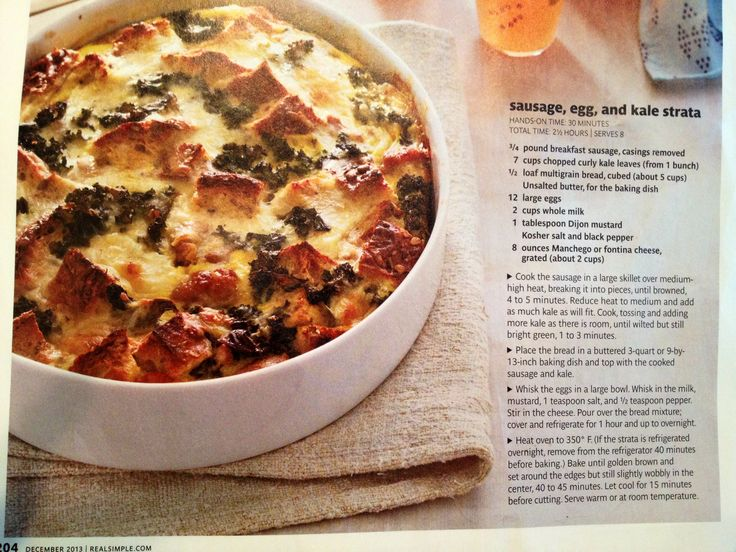Sausage, egg and kale strata from Real Simple