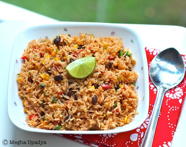 Mexican Fried Rice (Basmati, stock, peppers, corn, tomatoes, black ...