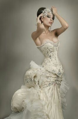 beautiful bejeweled corset wedding gown dream wedding