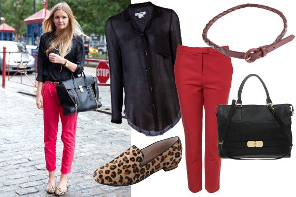 red pants - leopard loafers