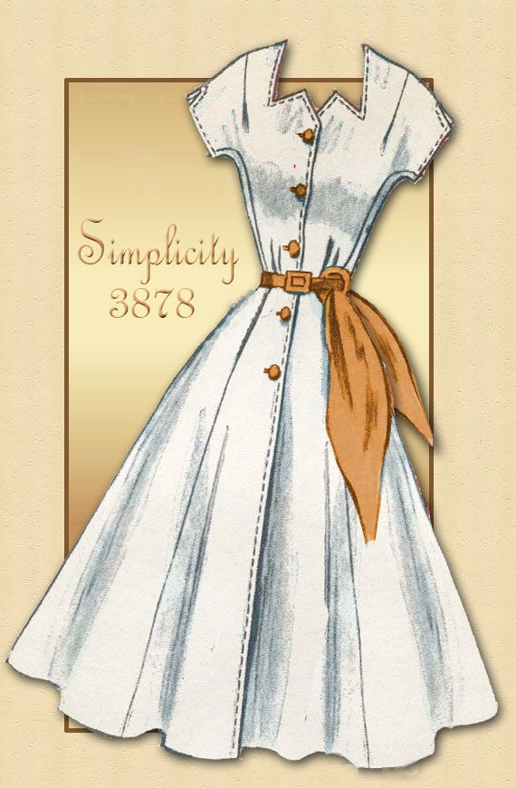 Vintage Dress Pattern Simplicity 3878 1950s Summer Short Sleeve Chic Career Dress