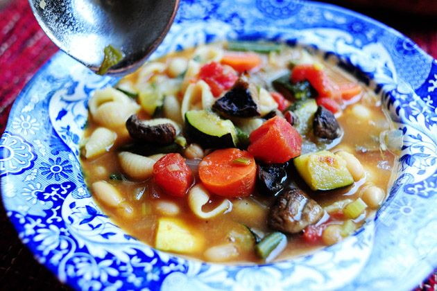 Roasted Vegetable Minestrone - use gluten free pasta, top with ...