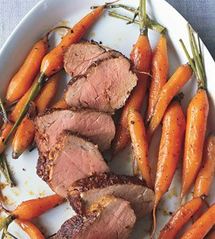 Spice-Rubbed Pork Tenderloin with Roasted Baby Carrots... It is ...