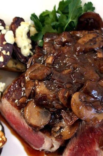 Steak with Drunken Mushrooms~
