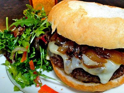 Latin Burgers with Caramelized Onion and Jalapeño Relish and Red ...