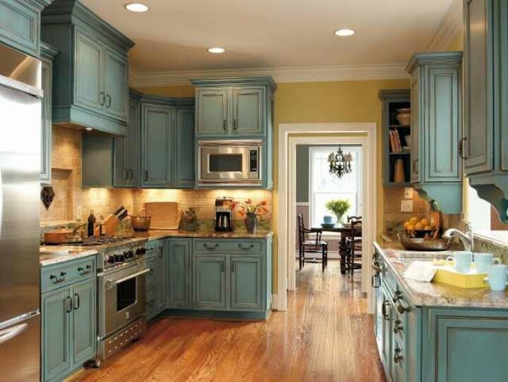 Turquoise rust cabinets  how to make a house my home  Pinterest