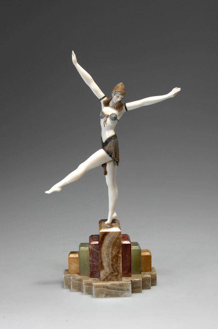"""@ Demetre H. Chiparus (Romanian 1886 - 1947), Paris, """"Danseuse de Palmvra"""", Sculpture, Cold-painted, Patinated Bronze, Ivory and Onyx Base, 1925."""
