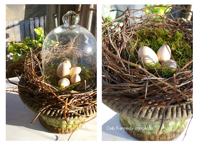 a Spring nest, made from hops vines and moss, nestled into an old cement flower pot.