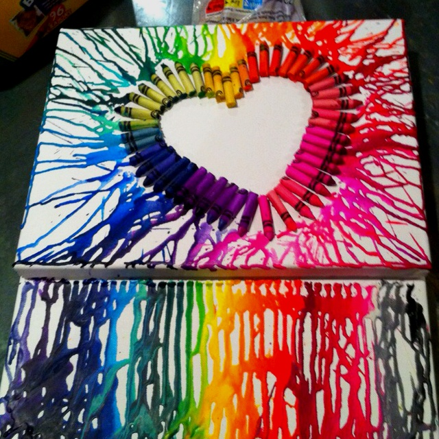 Crayon canvas crafts i want to try pinterest for How to make a melted crayon art canvas