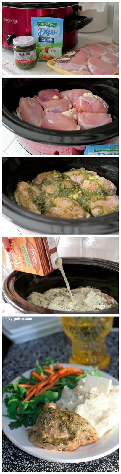 Pesto Ranch Crock Pot Chicken Thighs | Favorite Recipes | Pinterest