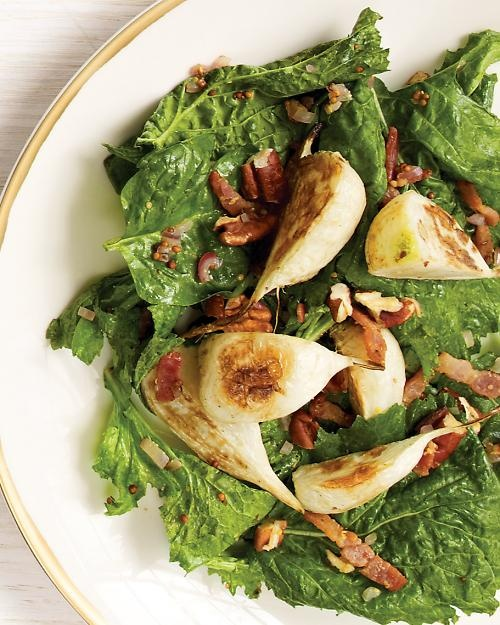Turnip and Baby Spinach Salad with Warm Bacon Vinaigrette   Recipe
