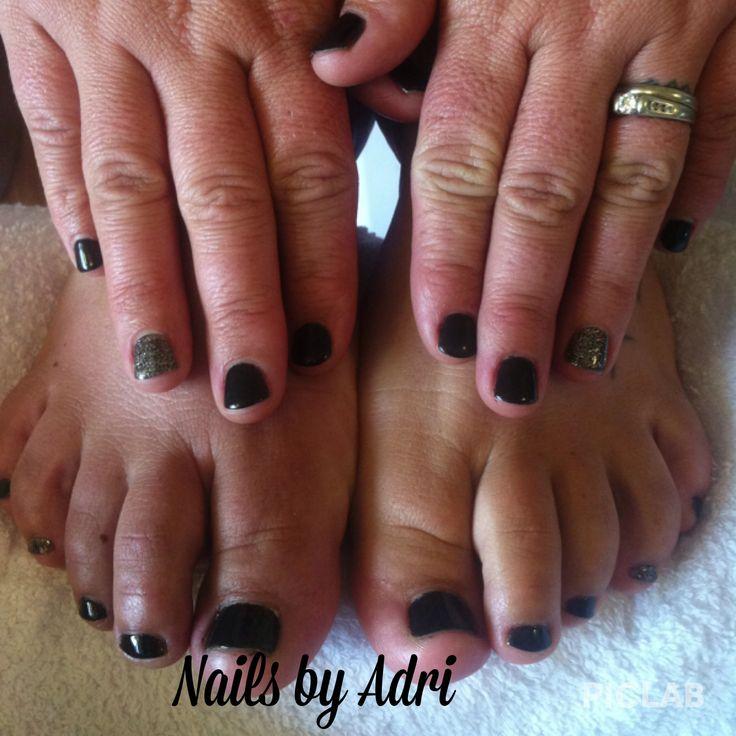 Black gel nails | Nails by me! | Pinterest