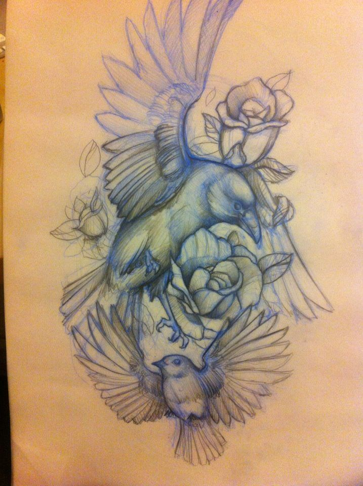 Flying Bird Sketch Tattoo