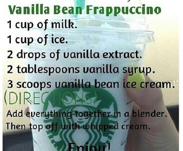 Vanilla bean frappuccino drinks to make pinterest