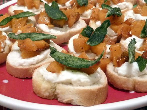 Butternut Squash, Ricotta, And Sage Crostini Recipe — Dishmaps