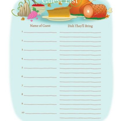Guest List For Thanksgiving Dinner Printable Holidays