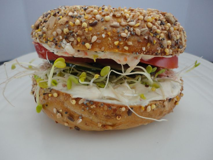 veggie and cheese bagel sandwich recipe yummly veggie and cheese bagel ...