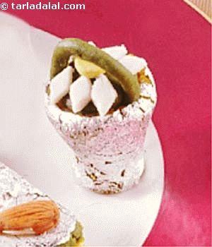 Almonds and pistachios make delightful mithai baskets.
