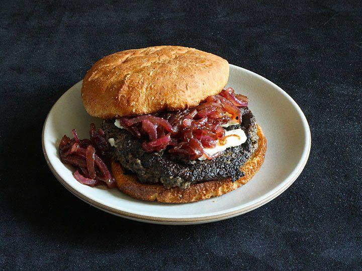 ... with garlic, steak sauce and blue cheese make one fine veggie burger