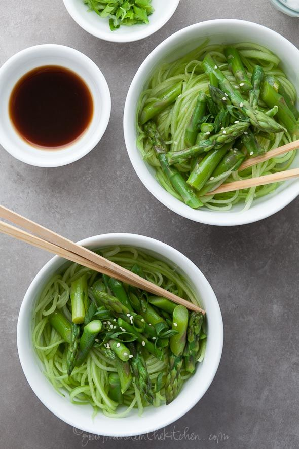 Cucumber Noodles with Asparagus and Ginger Scallion Sesame Sauce | Re ...