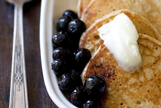 Whole-Grain Pancake Recipe with Blueberry Maple Syrup.