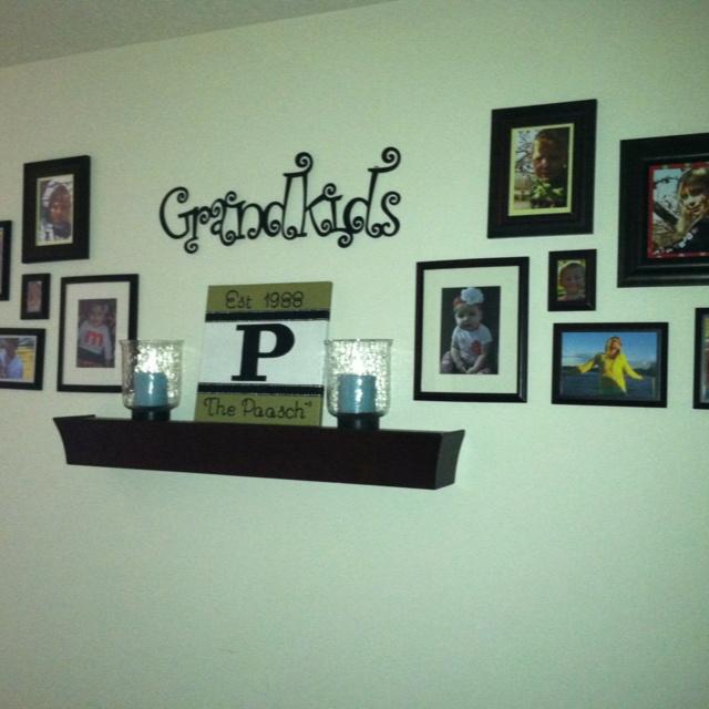 Grandchildren 39 s photos wall arrangement home decor for Wall decor arrangements