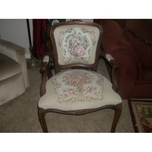 Vintage Victorian Courting Couple Tapestry Chair Curved