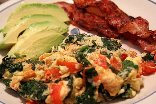 Eggs, spinach, tomato omelet with bacon & avocado -- I need to try ...