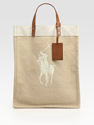 Ralph Lauren Collection Printed Polo Pony Canvas and Jute Tote