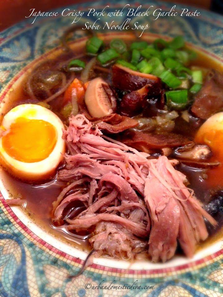 ... Japanese mushrooms, scallions and soba noodles.#blackgarlic #Aijitsuke