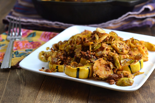 Brussels Sprouts with Chorizo, Raisins and Almonds