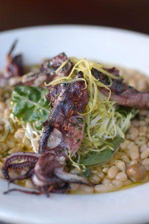 Delfina's Grilled Calamari with Warm White Bean Salad