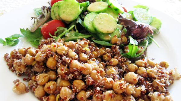 Quinoa with Roasted Spiced Chickpeas & Pine Nuts (Vegan, Gluten-Free)