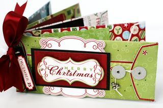 "Christmas Delight Envelope Album, include stickers, ""snow"" (glitter), or other small goodies in the envelopes."