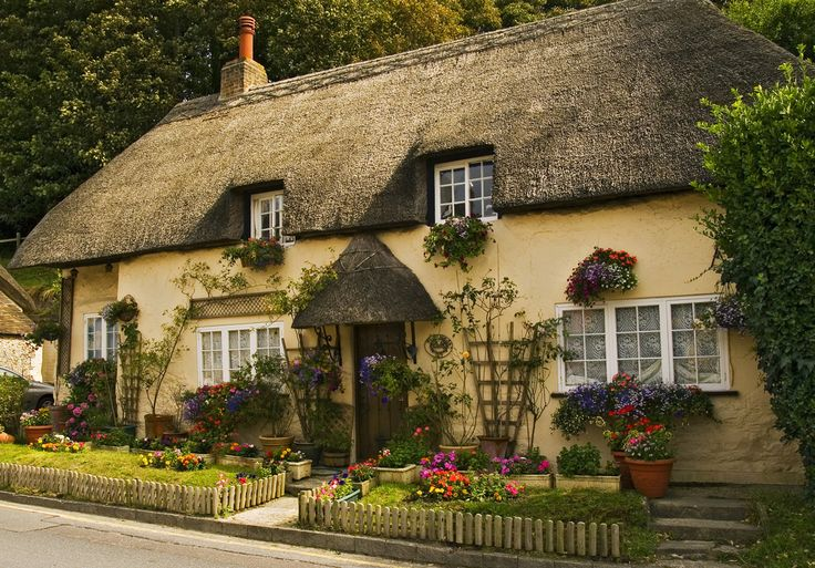 Pretty Thatched English Cottage Exterior Of Homes