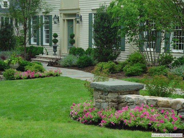 new jersey front entry walkway landscaping installer contractor front