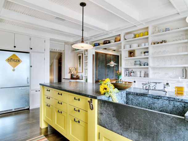 white kitchen with yellow base cabinets and open shelves (white