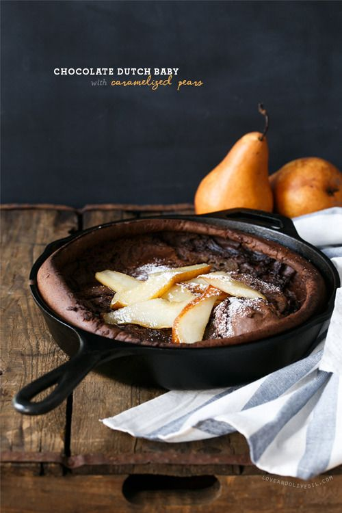 Chocolate Dutch Baby with Caramelized Pears | Recipe