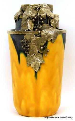 """Art Nouveau Ceramic and Gilt Bronze Vase Signed """"A Villen"""""""