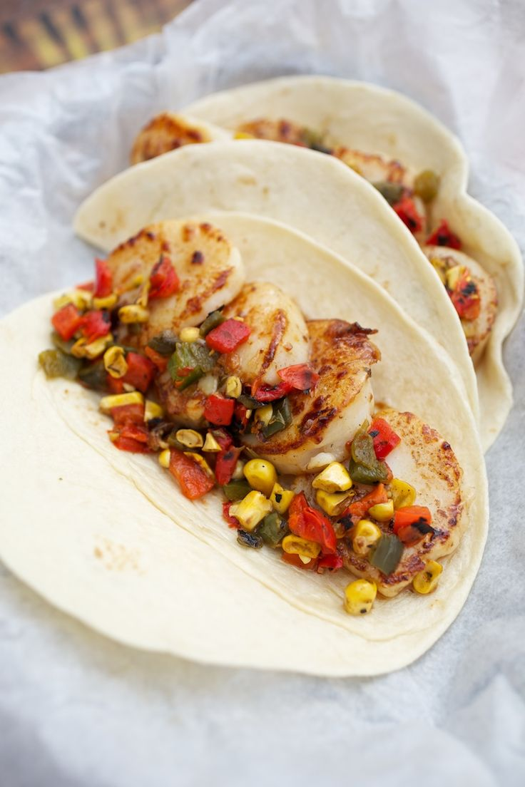 Delicious grilled scallops tossed with roasted red and poblano peppers ...